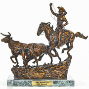 Charles Russell Western Bronze Sculpture The Round Up Collectible 0020