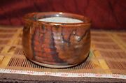 "Handmade Pottery Planter Handcrafted Art Browns 4 3/8""x3 1/8"""