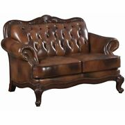 Bowery Hill Leather Tufted Loveseat In Warm Brown