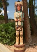 6and039 Cigar Store Indian Chief W Turquoise Robe 6 Ft Sculpture By Frank Gallagher