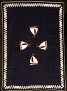 7pc Vintage Nautical Sailboats Placemats And Table Cloth