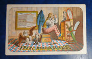 Graphic Victorian Trade Card Advertising Frank Miller Blacking Uncle Sam