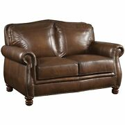 Coaster Montbrook Leather Loveseat With Rolled Arms In Brown