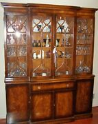 Vintage Flame Mahogany Breakfront China Cabinet W/leather Secretary - Will Ship