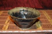 "Handmade Pottery Bowl Jagged Edge Handcrafted Clay Art browns 6""x3 1/8"""