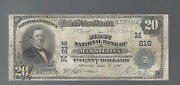 1902 20 Large Size National Currency Note Massillion Ohio 216 Nt0005