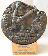 E. Weishoff Israel David And Goliath Bronze Medal / Plaque- Numbered 160 / 350