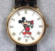Wempe Avronel Mickey Mouse Watch - Gold Case Crocodile Band - Disney 1989 New
