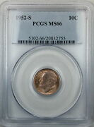 1952-s Silver Roosevelt Dime 10c Coin Pcgs Ms-66 Toned B