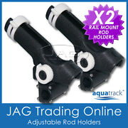 2 X H/duty Adjustable Ratchet Side And Rail Mount Plastic Boat Fishing Rod Holders