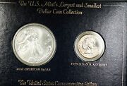 2002 Ase Silver Uncirculated And 1999 D Susan B Anthony Dollar 2 Coin Set