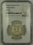 1928d Germany Dinkelsbuhl 3m Three Marks Silver Coin Ngc Ms-63