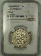 1928d Germany Albrecht Durer 3m Three Marks Silver Coin Ngc Ms-63