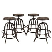 Set Of 4, Collect Industrial Bar Stool W/ Wood Seat And Cast Iron Frame, Brown