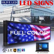 Olive Led Sign Full Color 12x70 Programmable Scrolling Message Outdoor Display