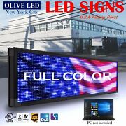 Olive Led Sign Full Color 15x91 Programmable Scrolling Message Outdoor Display