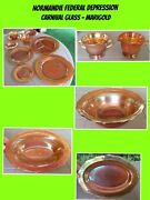 Vintage Federal Glass Normandie Marigold Iridescent Carnival Large Collection