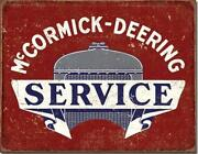 Mccormick Deering Farm Equipment Tractor Service Tin Metal Sign Made In Usa