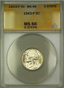 1943-p 5 Steps U.s. Wartime Silver Jefferson Nickel 5c Coin Anacs Ms-66 A