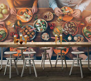 3d Food Dining Table Picture Wall Paper Print Decal Wall Deco Indoor Wall Mural
