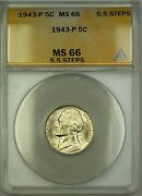 1943-p 5.5 Steps U.s. Wartime Silver Jefferson Nickel 5c Coin Anacs Ms-66 A