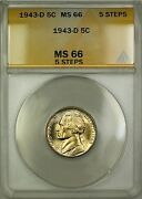 1943-d 5 Steps Wartime Silver Jefferson Nickel Coin Anacs Ms-66 Lightly Toneda