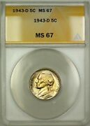 1943-d Wartime Silver Jefferson Nickel 5c Coin Anacs Ms-67 Lightly Toned C