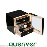 50/75 Count 3layers Wooden Cigar Box Case Humidor Humidifier Hygrometer Men Gift