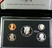 1998-s U.s. Mint Complete Silver Premier Proof Set 5 Gem Coins With Box And Coa
