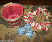 Primitive Heart Red White Blue 3 Small Rag Balls Red Gathering Basket Country