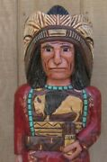 Frank Gallagher Carved 4 Ft Red Shirt Cigar Store Wooden Indian On Sale