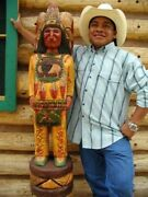 Frank Gallagher Hand Carved 4 Ft Cigar Store Wooden Indian On Sale