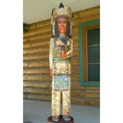 Gallagher 6and039 Cigar Store Wooden Indian Chief Sculpture Native American Carved
