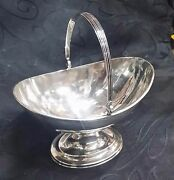 Antique Rare Young And Ellis Silver Candy Bowl Basket Footed W. Handle