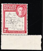 Falkland Islands Deps. 1948 2d With And039map Doubleand039 Cw 43a Mnh.