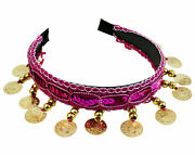 Belly Dance Costume Hairpin Head Buckle Headband Sequins Gold Or Silver Coins