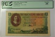 1954-59 10.12.1956 South Africa 5 Pounds Bank Note Scwpm 97c Pcgs Vf-35 C
