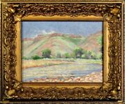 Stunning ca.1924 Mountainous River Landscape Painting Oil/Canvas w/Frame Sign