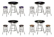 Bar Table Nfl Chrome And Black Team Logo And 2 Backless Swivel Seat Stools Glass