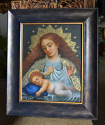 Virgin Madonna And Child Oil Painting Spanish Colonial Art Cuzco School Signed