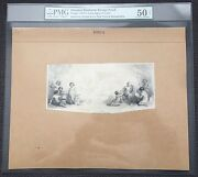 Large Die Proof Obsolete Bank Note Design On India On Card Pmg 50 Net Au Pahv556