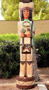 Gallagher 6and039 Wooden Cigar Store Indian W/tomahawk The Scout Native American Made