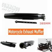 Universal 385mm Tapered Shorty Motorcycle Black Exhaust Pipe Muffler For Harley