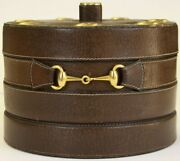 7 Pipe Leather C1970s Humidor W/ Brass Horsebit Trim Made In Italy