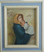 Oil Painting Madonna Virgin And Child Cuzco School, Spanish Colonial Art