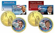 Donald Trump And Barack Obama Colorized 24kt Gold 1 Coin Set Coa And Stands