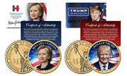 Donald Trump And Hillary Clinton Colorized Gold Plated 1 Coin Set Coa And Stands