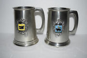 2 Vintage Sheffield England Pewter Glass Bottom Mugs - Boars Head, Cock And Bull