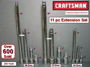 Craftsman Hand Tools 11 Pc 1/4 3/8 1/2 Ratchet Wrench Socket Extension Set
