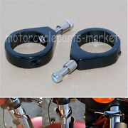 Black 49mm Groover Fork Tube Mount Turn Signal Relocation Clamps For Harley